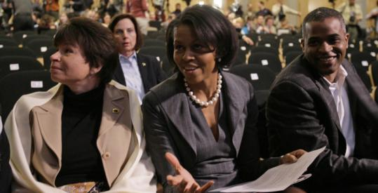 Michelle Obama, wife of the president-elect, was flanked by friends Valerie Jarrett and Marty Nesbitt in Philadelphia just before her husband's speech about race earlier this year.