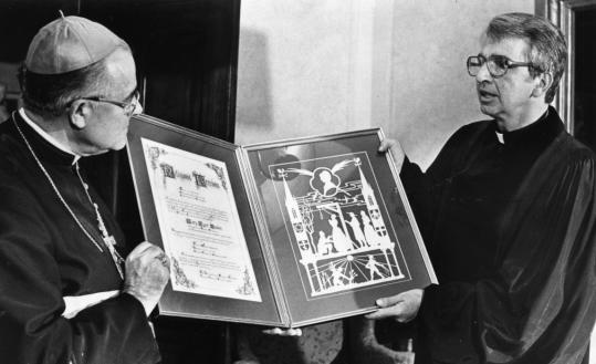 John blanding/GLOBE StaffDr. James A. Nash (right) presented a gift for Pope John Paul II from Boston's Protestant community to Humberto S. Medeiros before the pope's visit to Boston in 1979.