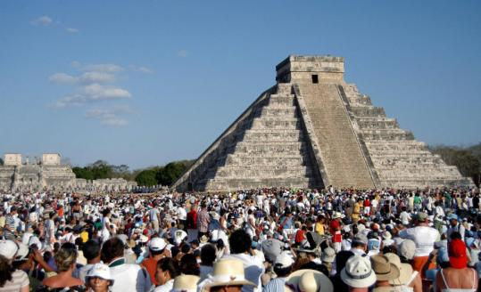 Particularly at the spring equinox, the sun on the El Castillo pyramid in Chichén Itzá makes a snakelike shadow on the side.