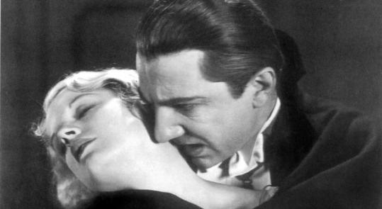Bela Lugosi (right) as the title count and Frances Dade in 1931's ''Dracula.''