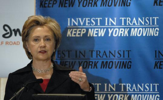 Senator Hillary Clinton, who spoke yesterday at a transit conference in Albany, would not comment on speculation that she may be selected to become secretary of state.