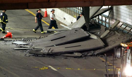Michael Dwyer/Associated Press/File 2006Firefighters inspected a section of ceiling in the Interstate 90 tunnel in Boston that collapsed and killed a woman.