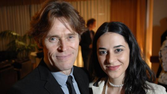 Willem Dafoe and his wife, Giada Colagrande, at the Charles Hotel last night.