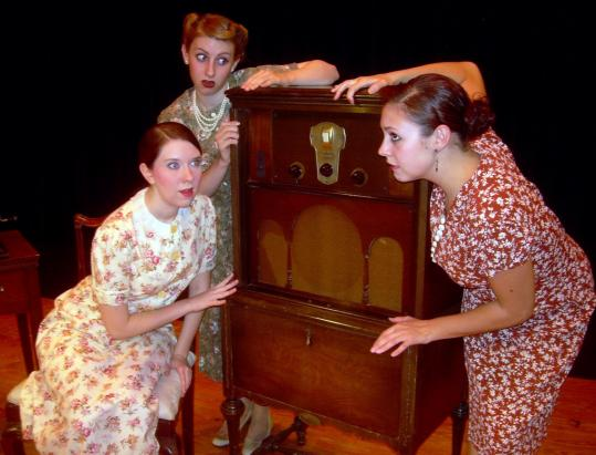 Regis CollegeCast members (from left) Erin Forgay, Danielle Sanford, and Meaghan Callahan prepare for tonight's opening of ''Radio Stories,'' a play drawn from personal recollections, at Regis College.