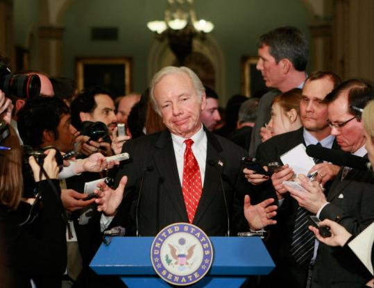 Senator Joe Lieberman, a Connecticut independent who has caucused with Democrats, spoke yesterday at the Capitol.
