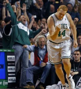 Brian Scalabrine earned the crowd's raucous approval after he canned a crucial 3-pointer.