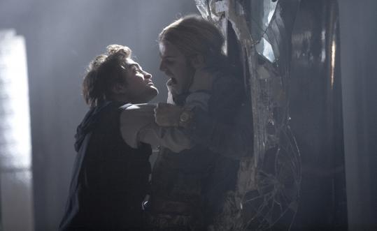 Robert Pattinson's good vampire (left) battles Cam Gigandet's evil one in a scene from ''Twilight.''