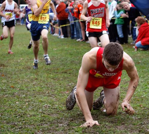 Perron drags himself, crawling towards the finish line. He placed 144th out of 146 finishers.
