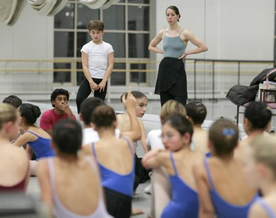 Jennifer Markham, children's coordinator for the Boston Ballet, with Jonathan Gomolka during rehearsal of ''The Nutcracker.''