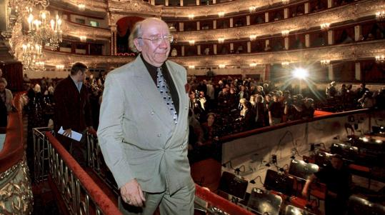 Gennady Rozhdestvensky in the Bolshoi Theater after he was named artistic director in 2000. He abruptly left after one season, describing ''vicious'' criticism by the Moscow press.