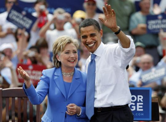 Senator Barack Obama took the stage with Senator Hillary Clinton at a June campaign event in Unity, N.H. They first spoke after their primary battle on the flight to Unity.