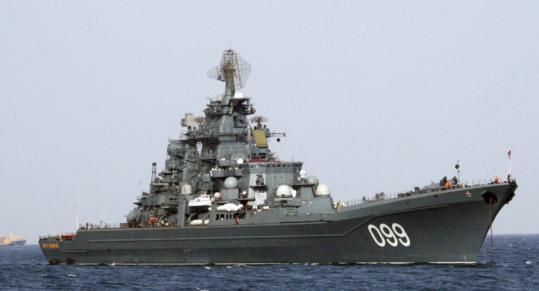 The Russian missile destroyer Pyotr Veliky, or Peter the Great, sailed near the port of Tripoli, Libya, in mid-October.