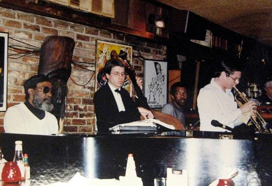 Lawrence Wheatley (left) performing in 1990 at One Step Down in Washington, D.C. Besides an appearance on a 1955 record, the only known recordings of his music are private concert tapes.