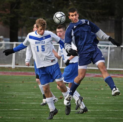 Bromfield's Lars Nordgreen (left) goes up against Hamilton-Wenham's Joe Savasta.