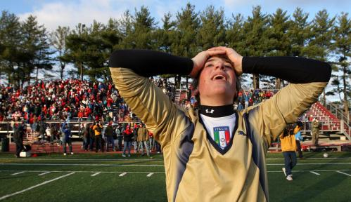 Mt. Greylock goalie Than finan can't seem to believe the moments following his team's 3-2 win over Masconomet.