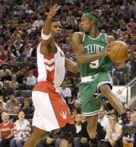 Rajon Rondo (right) had the Celtics looking in the right direction from the start with 9 first-quarter points.