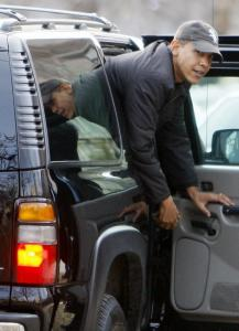 President-elect Barack Obama arrived at the University of Chicago Lab School, where he played basketball yesterday.