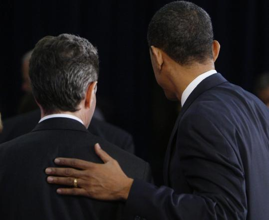 President-elect Barack Obama with Timothy Geithner, his Treasury secretary nominee, after a news conference in Chicago.