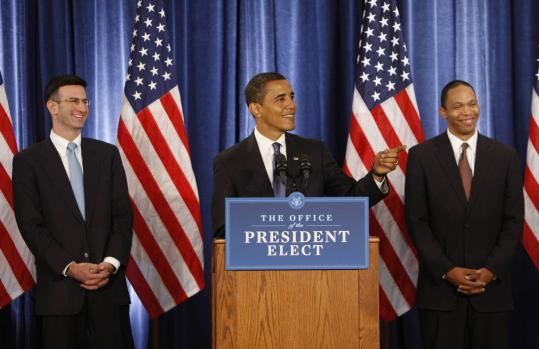 President-elect Barack Obama yesterday introduced Peter Orszag, left, to run the Office of Management and Budget, and Robert Nabors as Orszag's deputy.