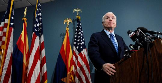 When asked about running for president again, Senator John McCain said with a laugh, ''I do not envision a scenario that would entail that,'' at a press conference yesterday in Phoenix.