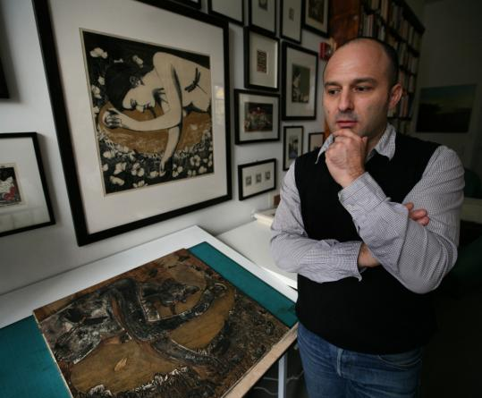 Angelo Aversa's ''Dream Oz,'' is on the table; the positive print is framed above it. The woodcut will be shown as part of the 70th anniversary celebration of ''The Wizard of Oz.''
