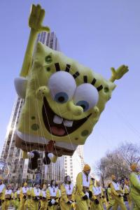 Brendan McDermid/ReutersThe SpongeBob SquarePants balloon made its way down Broadway during the 82d annual Macy's Thanksgiving Day Parade in New York City yesterday.