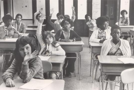 Seventh-graders in Boston, September 1975. Sugrue downplays the impact of school desegregation in his new history.