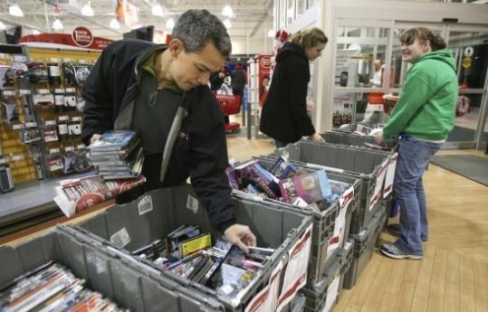 Reginald Decastro of Foxborough was attracted to discounted DVDs at Circuit City.