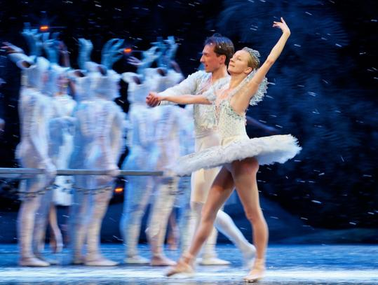 Larissa Ponomarenko and Roman Rykine as the Snow Queen and King during dress rehearsal of ''The Nutcracker.''