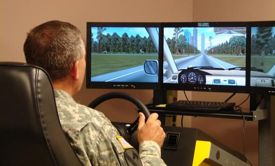 During a tour of Fort Campbell in Kentucky, General Peter Chiarelli, vice chief of staff for the Army, checked out a driving simulator, which is used to test the reaction of soldiers with traumatic brain injuries.