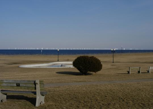 This computer-generated image showed what a view of Cape Wind farm would look like from Oak Bluffs. The developer expects the turbines will produce 170 megawatts of power a year.