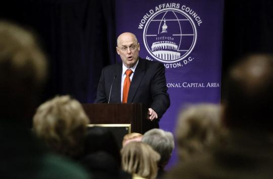 Treasury Secretary Henry Paulson urged China to boost consumption, not rely on exports to strengthen its economy.
