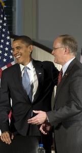 President-elect Barack Obama shared a laugh with Governor Jim Douglas of Vermont at the National Governors Association annual meeting in Philadelphia yesterday. ''We intend to put tax cuts into the pockets of hard-pressed, middle-class families in your states,'' Obama said.
