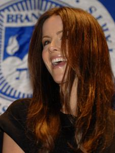 Kate Beckinsale answers questions at Brandeis last night.