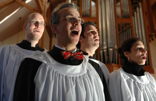 Preparing for the ''Messiah'' sing today at 4 p.m. at St. Paul's Episcopal Church in Brookline are (from left) bass soloist Michael Morde, music director Andrew Clarkson, tenor Andre DeMesquita, and soprano Shadi Ebrahimi, continuing a 35-year tradition.