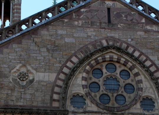 Above, the exterior of Old South Church sustained cracks (at left), apparently caused by construction of an elevator. Below, the sanctuary also suffered structural fractures.