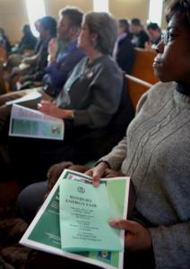 Cortina Vann of Dorchester attended the Boston Green Justice Coalition kickoff.