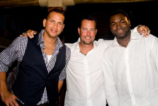 From left: Alex Rodriguez, Tim Wakefield, and David Ortiz at the pre-tournament pairings party.