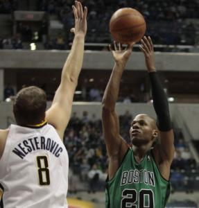 Ray Allen didn't let Rasho Nesterovic and the Pacers stand in his way as he scored 35 points.