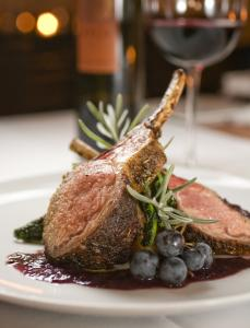 Rack of wild boar with a sauce of fermented wild Concord grapes is a staple of the menu.