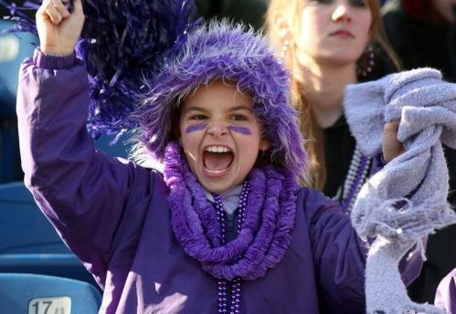 Norton fan Jackie Ireland, 10, cheers on her team.