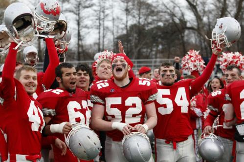Amesbury players celebrate after they defeated Martha's Vineyard at Bentley College.