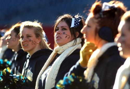 Tri-County cheerleaders look concerned as their team is losing to Manchester.