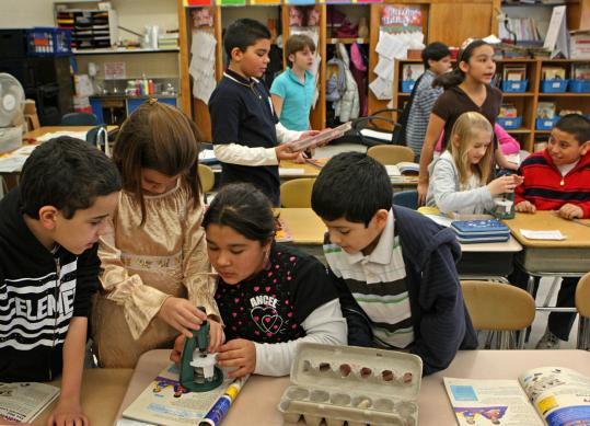 Science class yesterday at Bradley Elementary in East Boston. About 3,600 Massachusetts students were tested.