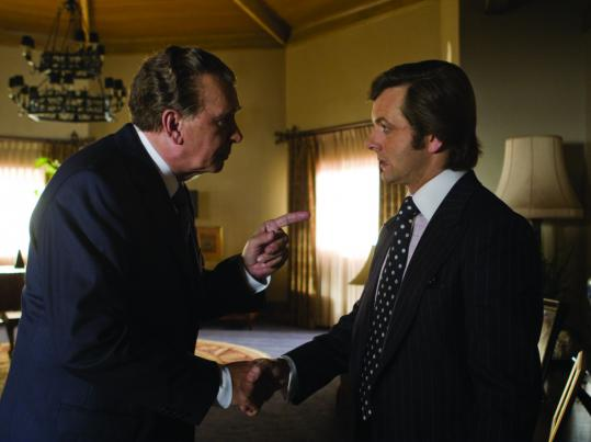 Frank Langella (left) as Richard Nixon and Michael Sheen as David Frost in ''Frost/Nixon.''
