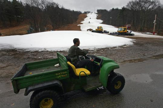 Dan Lambrecht, Blue Hills ski operations manager, is among those affected by milder Northeast winters.