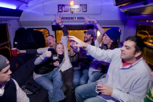 Kelly Nell, Jake Frye, Max Woolf, Erin Baumgatner, and Jeff Szwaya danced in their Bustonian seats. More info on the Bustonian SUBMIT Your nightlife photos! TALK What scene should we visit next?