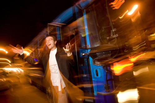 Jeremy Maunus of Cambridge hopped off the Bustonian party bus during a stop at Crossroads Irish Pub. More info on the Bustonian SUBMIT Your nightlife photos! TALK What scene should we visit next?
