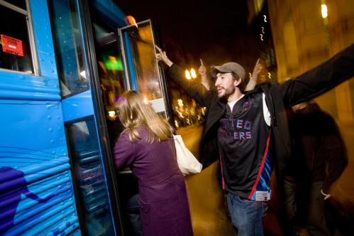 Pack 'em in: Max Woolf of Boston helped load the bus with friends. More info on the Bustonian SUBMIT Your nightlife photos! TALK What scene should we visit next?