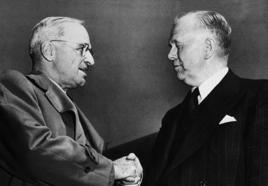 President Harry Truman with Secretary of State George Marshall in 1947.